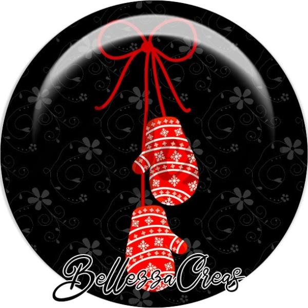 Cabochon, mouffles rouges et blancs noël,Noël, évènement, plusieurs tailles disponibles - Photo n°1
