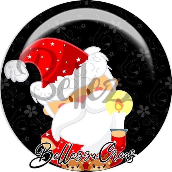 Cabochon, père noël, bougie,Noël, évènement, plusieurs tailles disponibles - Photo n°1