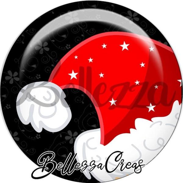Cabochon, bonnet rouge et blanc étoilé,Noël, évènement, plusieurs tailles disponibles - Photo n°1