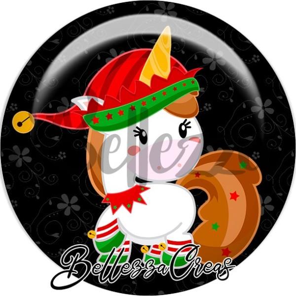 Cabochon, licorne noël,Noël, évènement, plusieurs tailles disponibles - Photo n°1