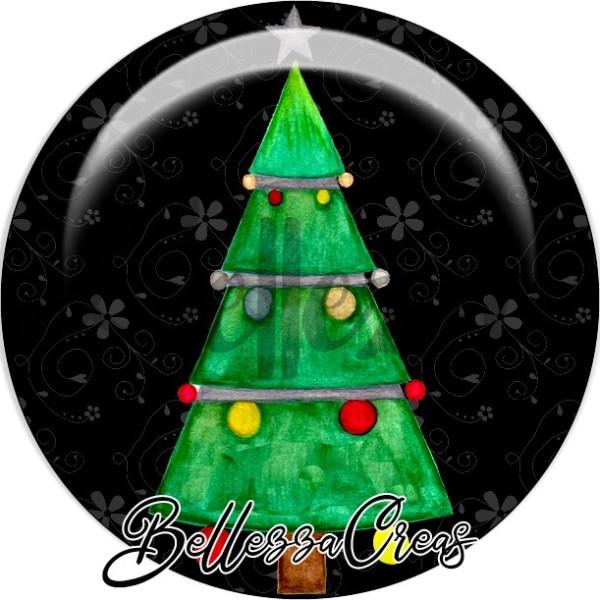 Cabochon, sapin vert quart de lune,Noël, évènement, plusieurs tailles disponibles - Photo n°1