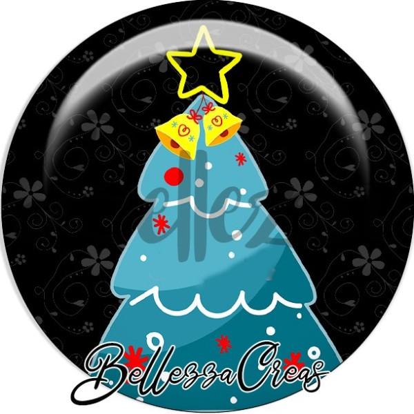 Cabochon, sapin bleu, cloche étoile or,Noël, évènement, plusieurs tailles disponibles - Photo n°1