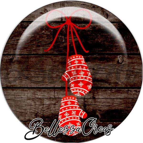Cabochon, mouffles rouges flocons, noeud,Noël, évènement, plusieurs tailles disponibles - Photo n°1