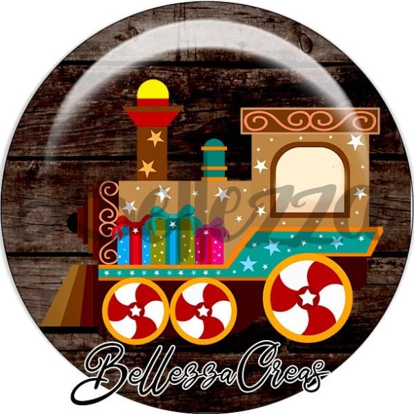 Cabochon, locomotive, cadeaux,Noël, évènement, plusieurs tailles disponibles - Photo n°1