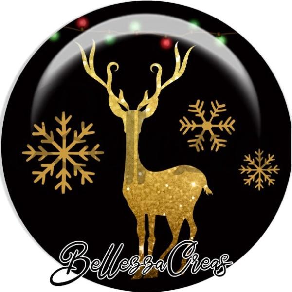 Cabochon, cerf doré, flocons,Noël, évènement, plusieurs tailles disponibles - Photo n°1