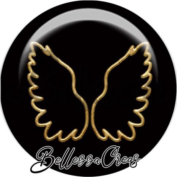 Cabochon, ailes d'ange dorées,Noël, évènement, plusieurs tailles disponibles - Photo n°1