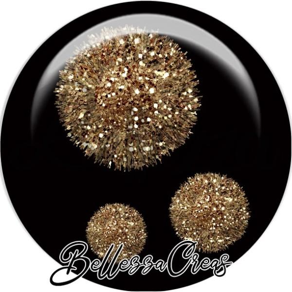 Cabochon, boules pompon argentées,Noël, évènement, plusieurs tailles disponibles - Photo n°1
