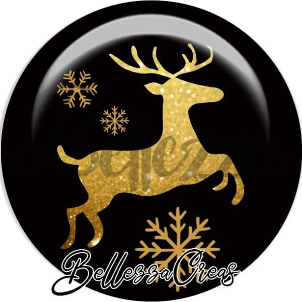 Cabochon, renne, flocons, doré,Noël, évènement, plusieurs tailles disponibles - Photo n°1