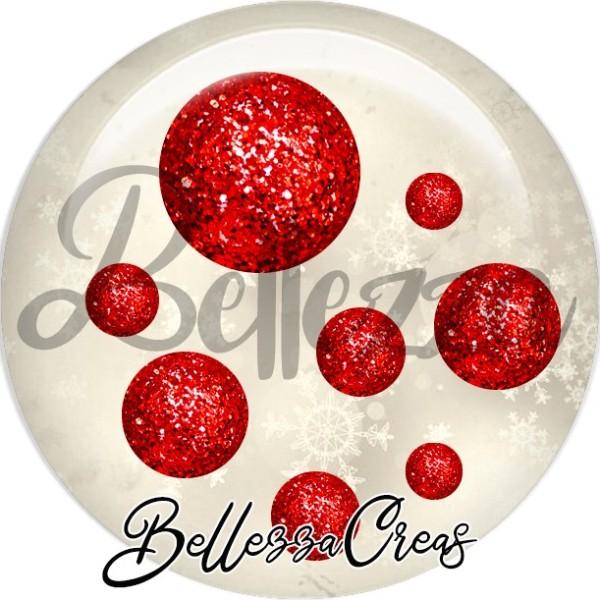 Cabochon, boules rouges scintillantes,Noël, évènement, plusieurs tailles disponibles - Photo n°1