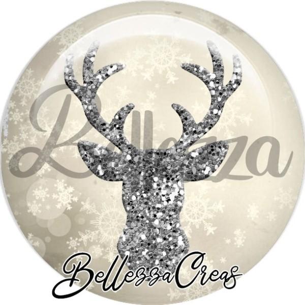 Cabochon, tête de renne scintillante,Noël, évènement, plusieurs tailles disponibles - Photo n°1