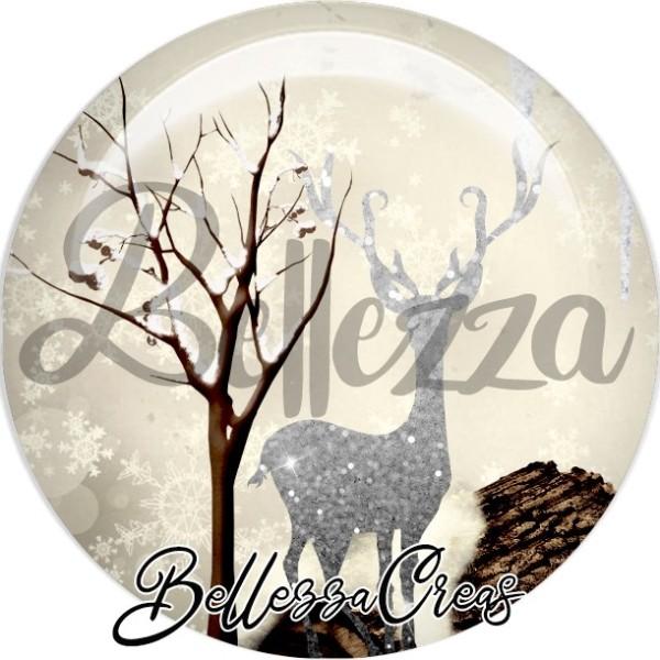 Cabochon, forêt sous la neige, renne,Noël, évènement, plusieurs tailles disponibles - Photo n°1