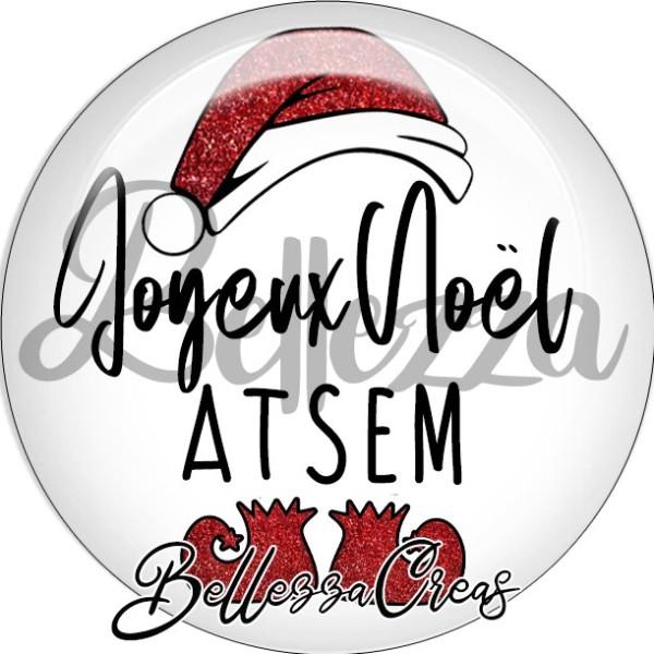 Cabochon, bonnet père noël, joyeux noël ATSEM,Noël, évènement, plusieurs tailles disponibles - Photo n°1