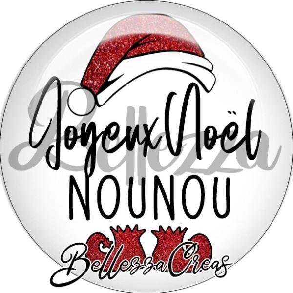 Cabochon, bonnet père noël, joyeux noël nounou,Noël, évènement, plusieurs tailles disponibles - Photo n°1