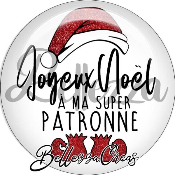 Cabochon, bonnet, joyeux noël à ma super patronne,Noël, évènement, plusieurs tailles disponibles - Photo n°1