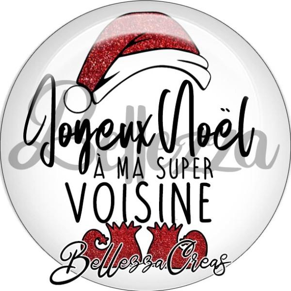 Cabochon, bonnet, joyeux noël à ma super voisiine,Noël, évènement, plusieurs tailles disponibles - Photo n°2