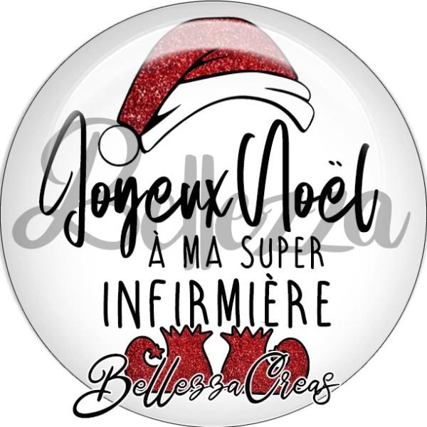 Cabochon, bonnet, joyeux noël à ma super infirmière,Noël, évènement, plusieurs tailles disponibles - Photo n°1