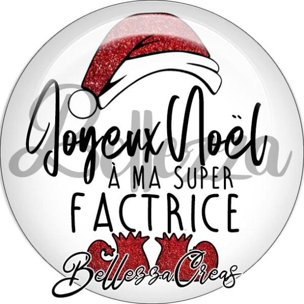 Cabochon, bonnet père noël, joyeux noël à ma factrice,Noël, évènement, plusieurs tailles disponibles - Photo n°1
