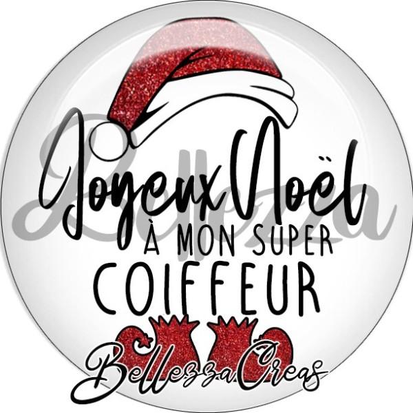 Cabochon, bonnet, joyeux noël à mon super coiffeur,Noël, évènement, plusieurs tailles disponibles - Photo n°1