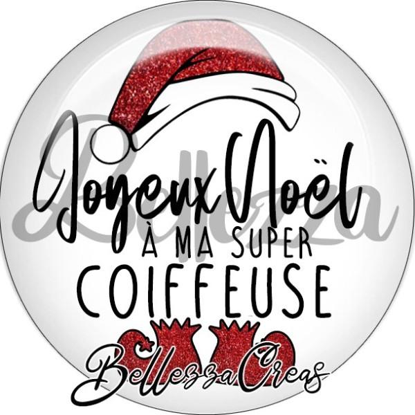 Cabochon, bonnet, joyeux noël à ma super coiffeuse,Noël, évènement, plusieurs tailles disponibles - Photo n°1