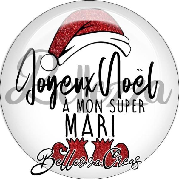Cabochon, bonnet, joyeux noël à mon super mari,Noël, évènement, plusieurs tailles disponibles - Photo n°1