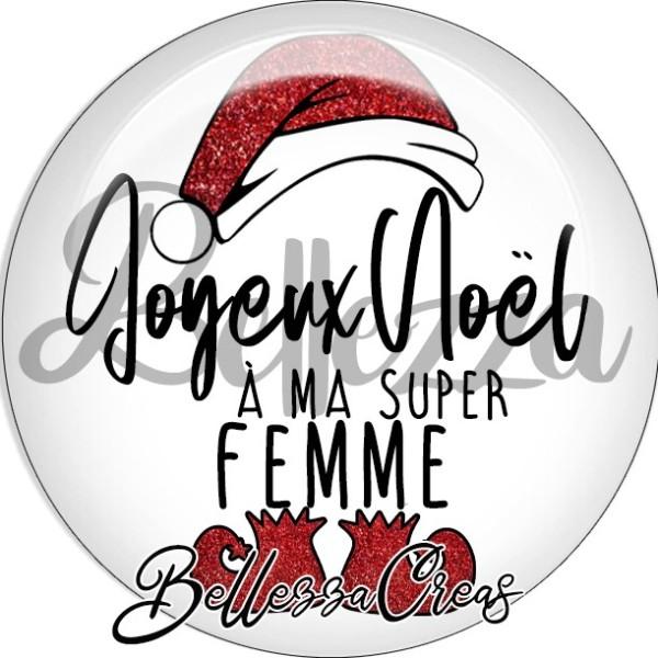 Cabochon, bonnet, joyeux noël à ma super femme,Noël, évènement, plusieurs tailles disponibles - Photo n°1