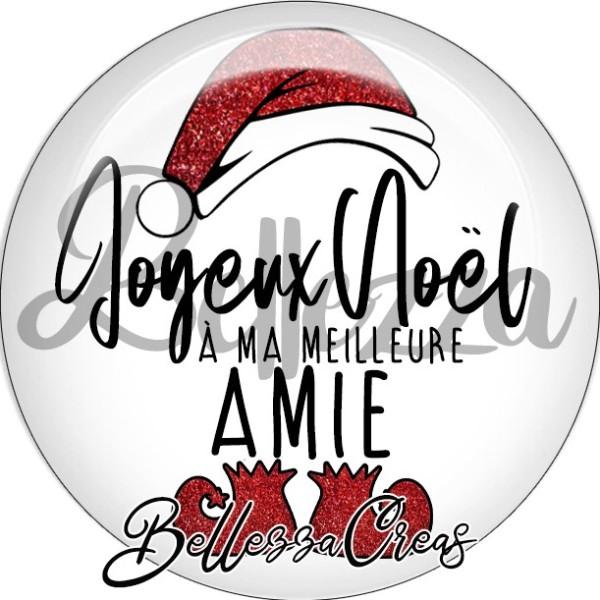 Cabochon, bonnet, joyeux noël à ma meilleure amie,Noël, évènement, plusieurs tailles disponibles - Photo n°1