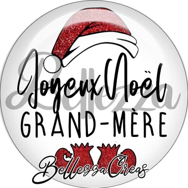 Cabochon, bonnet père noël, joyeux noël grand-mère,Noël, évènement, plusieurs tailles disponibles - Photo n°1