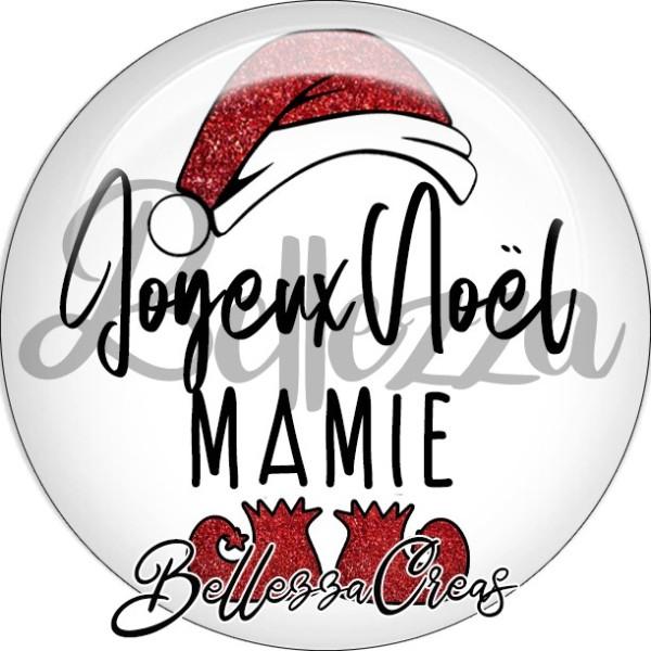 Cabochon, bonnet père noël, joyeux noël mamy,Noël, évènement, plusieurs tailles disponibles - Photo n°1