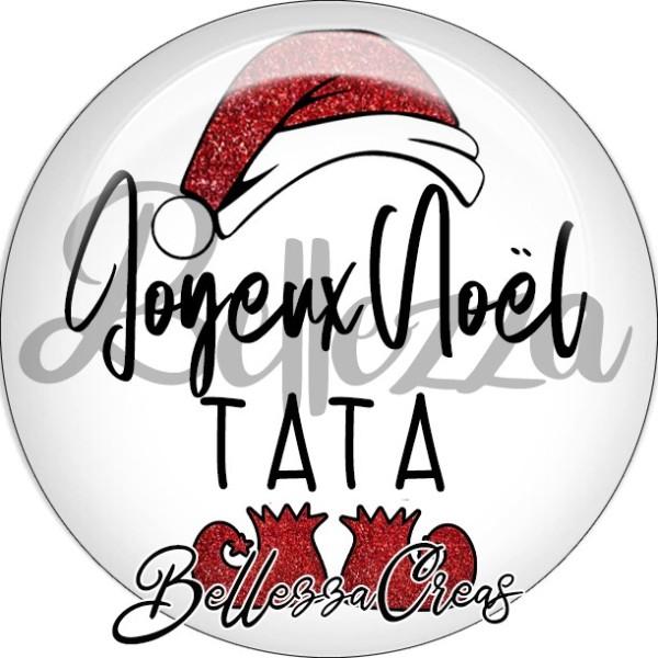 Cabochon, bonnet père noël, joyeux noël tata,Noël, évènement, plusieurs tailles disponibles - Photo n°1
