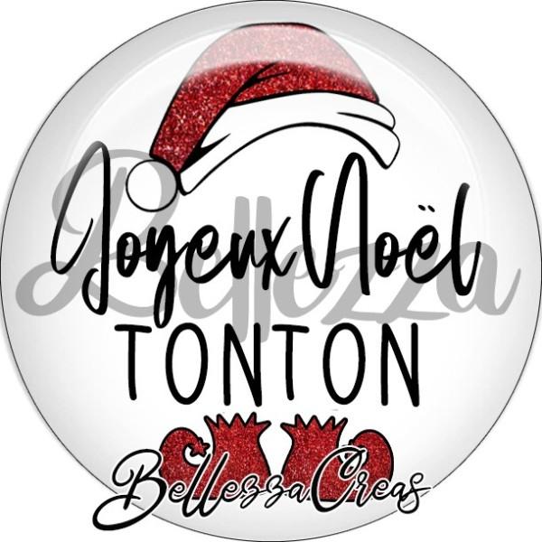 Cabochon, bonnet père noël, joyeux noël tonton,Noël, évènement, plusieurs tailles disponibles - Photo n°1