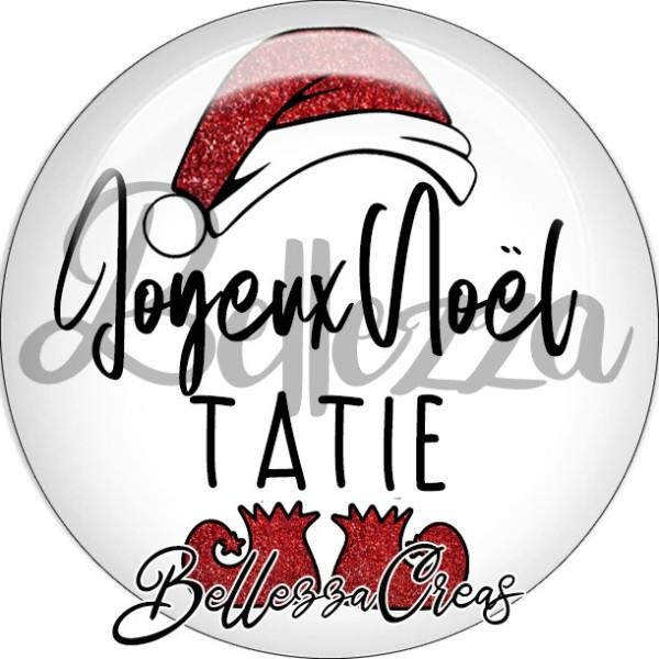 Cabochon, bonnet père noël, joyeux noël tatie,Noël, évènement, plusieurs tailles disponibles - Photo n°1
