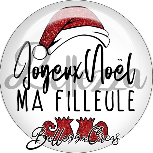 Cabochon, bonnet père noël, joyeux noël ma filleule,Noël, évènement, plusieurs tailles disponibles - Photo n°1