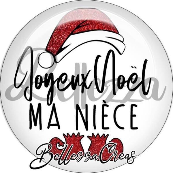 Cabochon, bonnet père noël, joyeux noël ma nièce,Noël, évènement, plusieurs tailles disponibles - Photo n°1