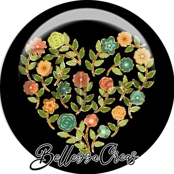 Cabochon, fleurs, coeur, automne, plusieurs tailles disponibles - Photo n°1
