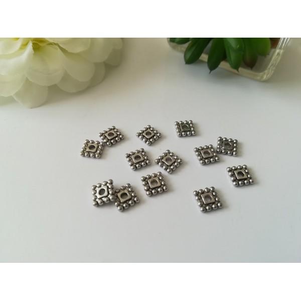 Perles métal intercalaire carré 7 mm argent mat x 20 - Photo n°1