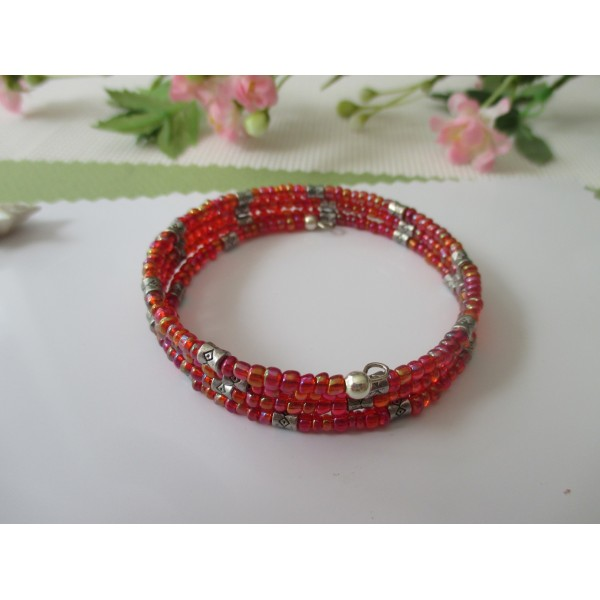 Kit bracelet 3.5 rangs perles de rocailles rouges à reflets - Photo n°2