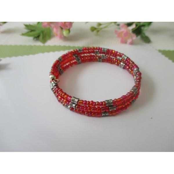 Kit bracelet 3.5 rangs perles de rocailles rouges à reflets - Photo n°3