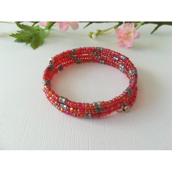 Kit bracelet 3.5 rangs perles de rocailles rouges à reflets - Photo n°1