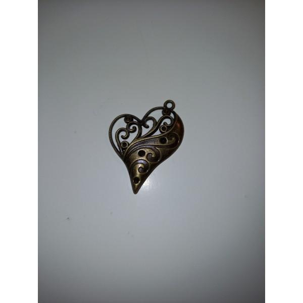 Un magnifique coeur pour votre cou, en bronze, 4 cm - Photo n°1