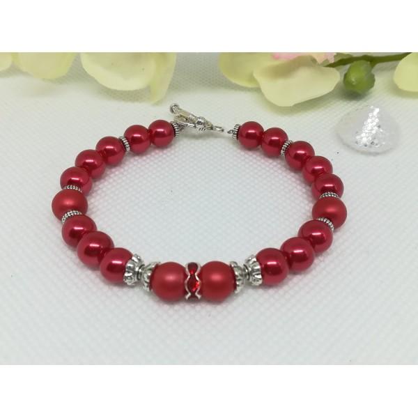 Kit bracelet perles en verre rouge - Photo n°2