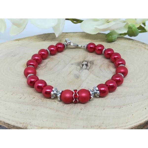 Kit bracelet perles en verre rouge - Photo n°1