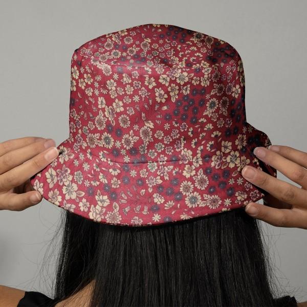 Tissu Fleuri Frou-Frou - Coton léger - Bordeaux Glamour - Par 10 cm - Photo n°2