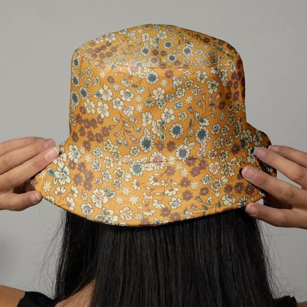 Tissu Fleuri Frou-Frou - Coton léger - Jaune Moutarde - Par 10 cm - Photo n°2