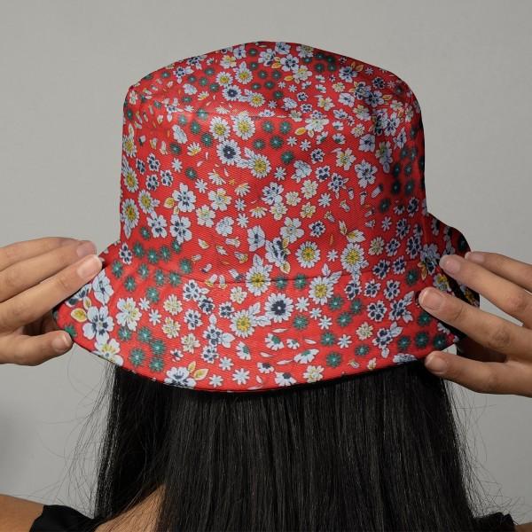 Tissu Fleuri Frou-Frou - Coton léger - Orange Vintage - Par 10 cm - Photo n°2