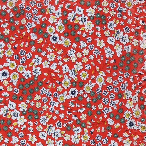 Tissu Fleuri Frou-Frou - Coton léger - Orange Vintage - Par 10 cm - Photo n°1