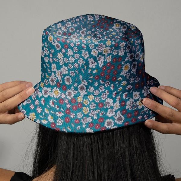 Tissu Fleuri Frou-Frou - Coton léger - Bleu Canard - Par 10 cm - Photo n°2