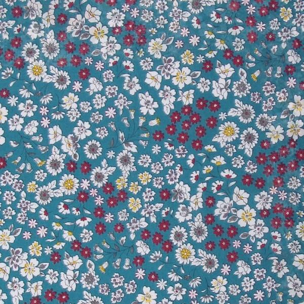 Tissu Fleuri Frou-Frou - Coton léger - Bleu Canard - Par 10 cm - Photo n°1