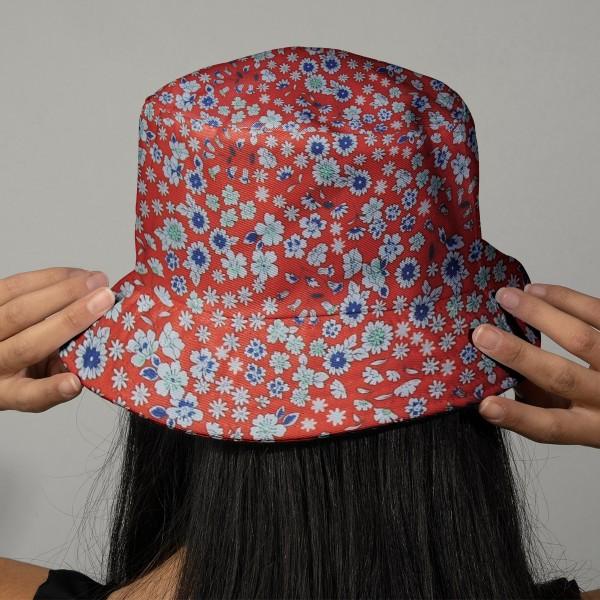Tissu Fleuri Frou-Frou - Coton léger - Ambre - Par 10 cm - Photo n°2