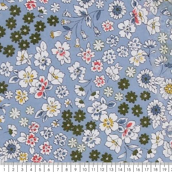 Tissu Fleuri Frou-Frou - Coton léger - Bleu Lavande - Par 10 cm - Photo n°2