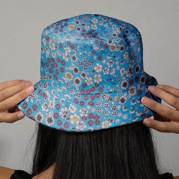 Tissu Fleuri Frou-Frou - Coton léger - Bleu Ciel - Par 10 cm - Photo n°2